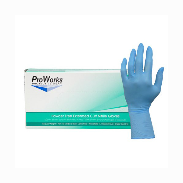 Blue Nitrile Extended Cuff Gloves